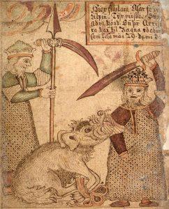 Manuskrypt przedstawiający Fenrira trzymającego w paszczy rękę Tyra