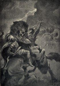 Obraz przedstawiający walczącego Fenrira